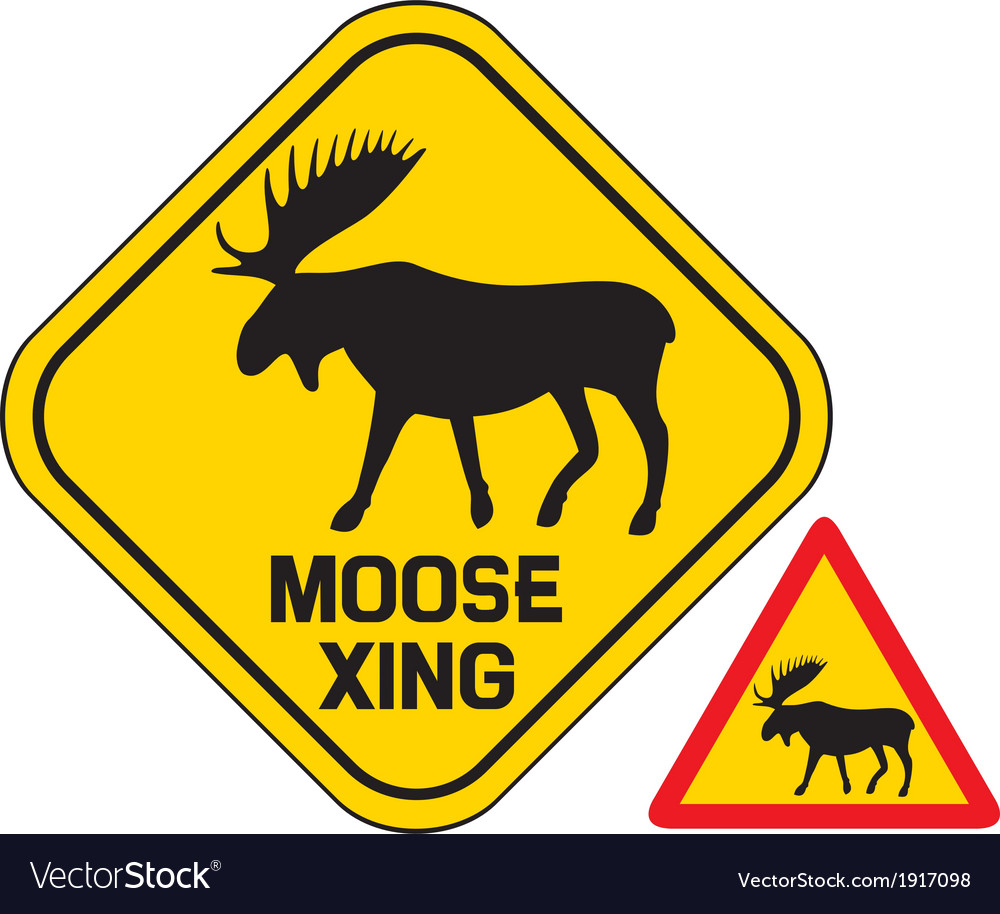 Moose crossing road sign
