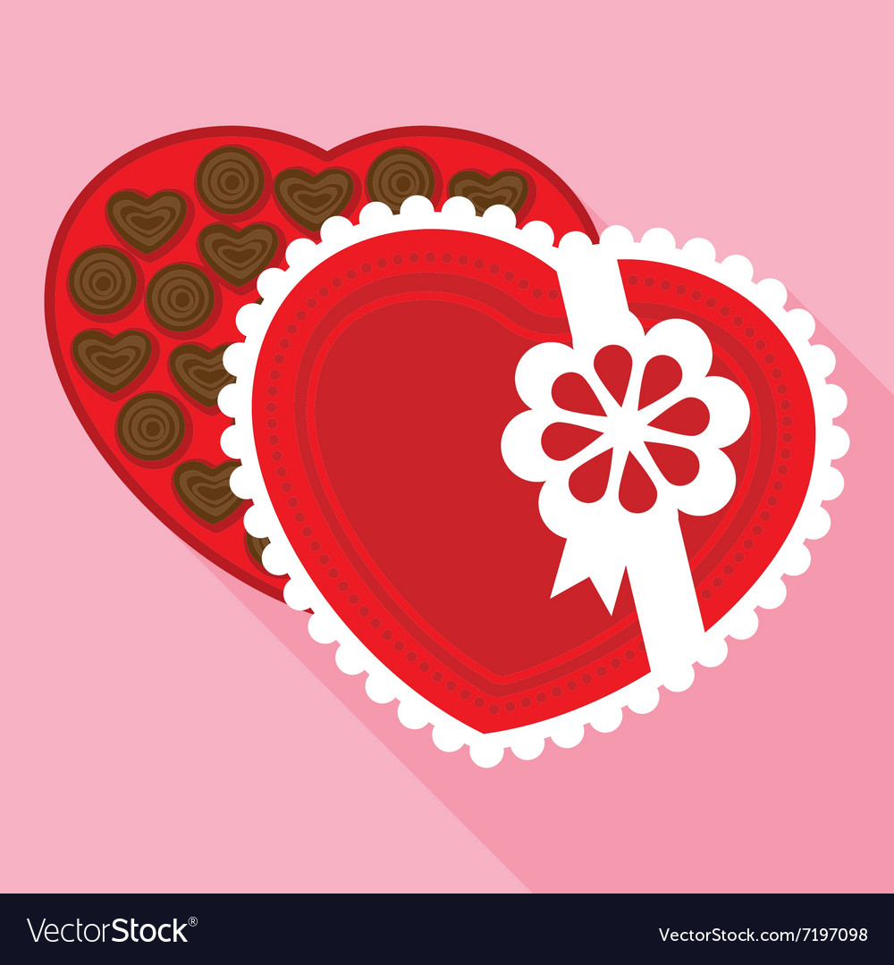 Red Box Of A Valentine Chocolate In Flat Style Vector Image