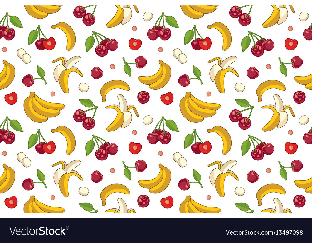 Seamless pattern with cherries and bananas