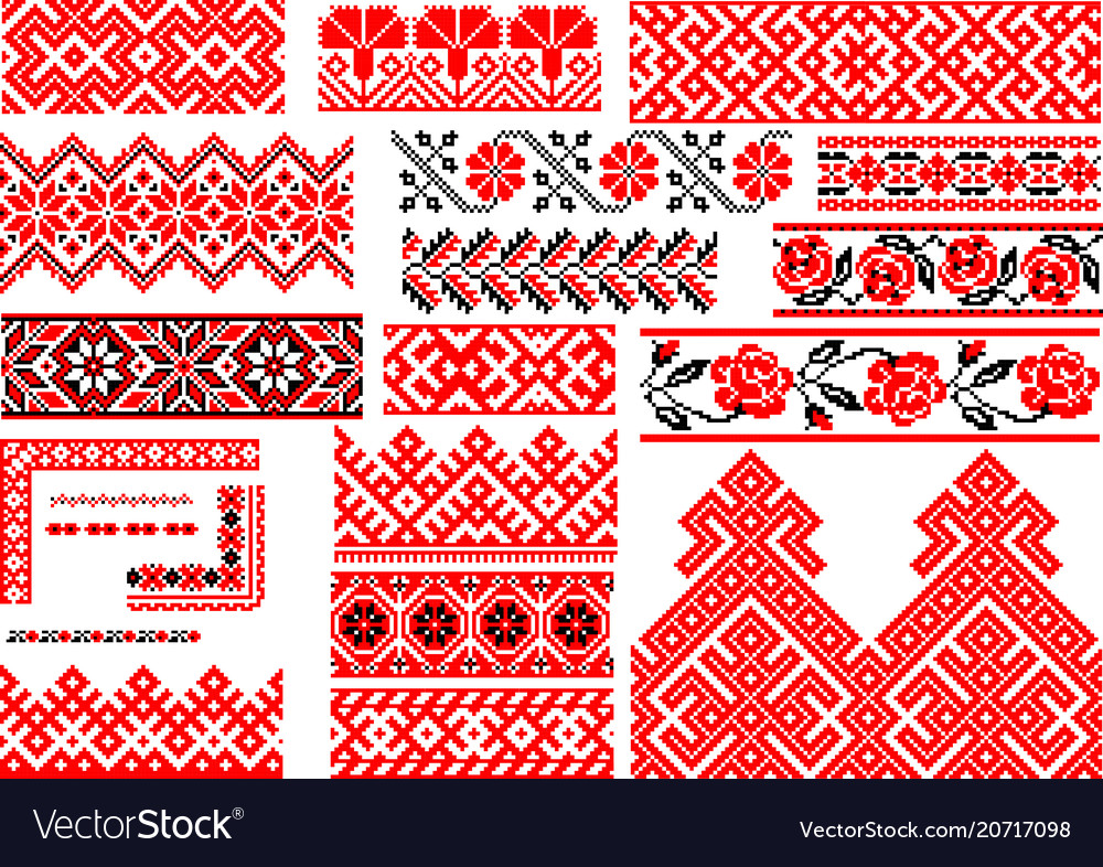 Set of 21 seamless ethnic patterns for embroidery