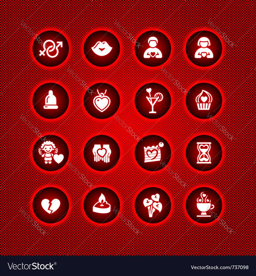 Set Valentines Day Icons Love Romantic Symbols Vector Image