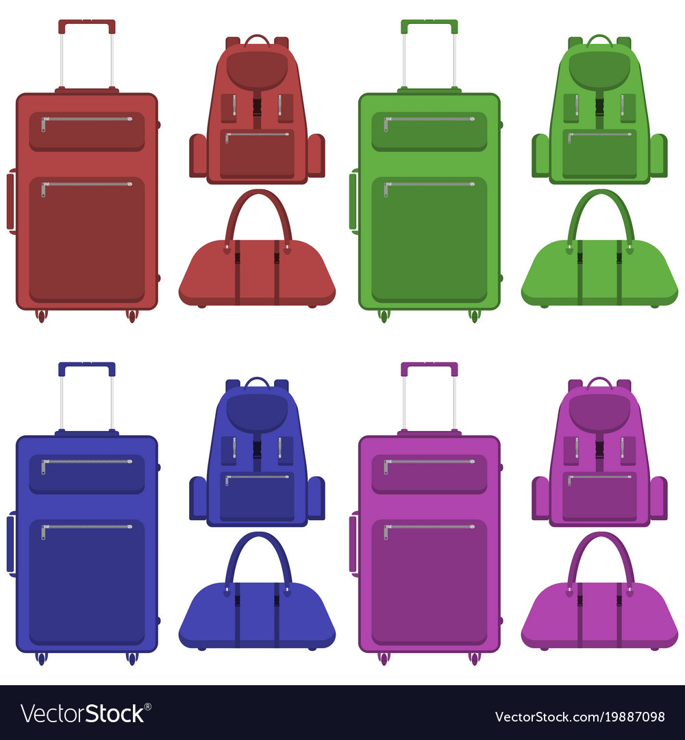 Travel suitcase bag and backpack in different