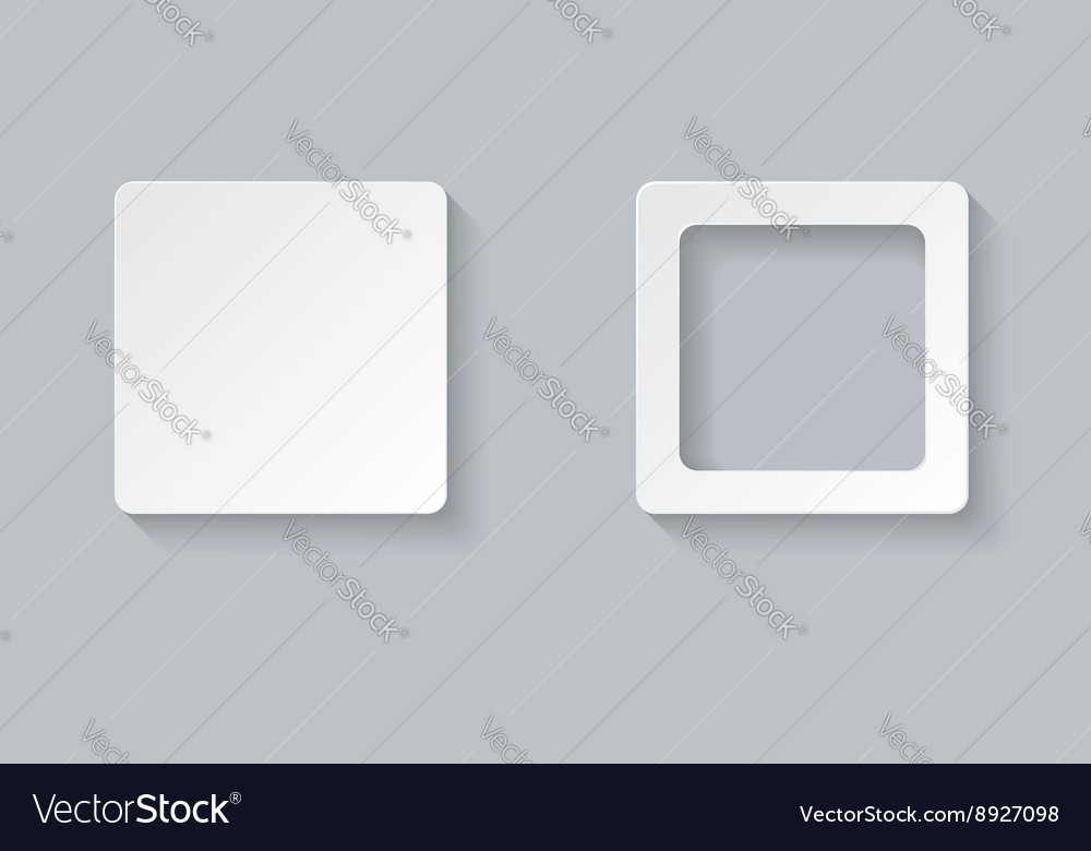 Two square design elements on gray background
