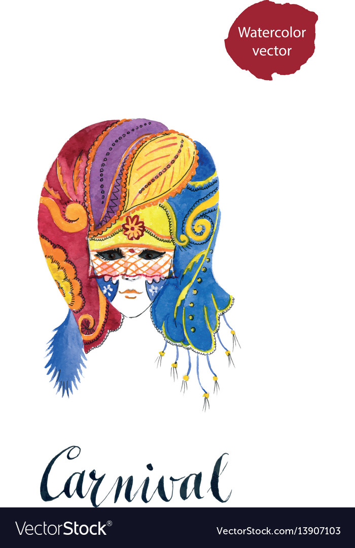 Carnival venetian party mask vector image