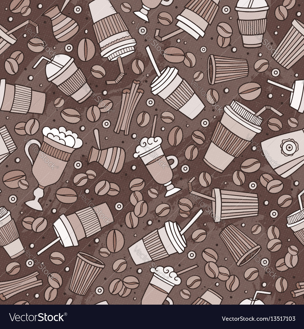 Cartoon hand-drawn coffee shop seamless pattern