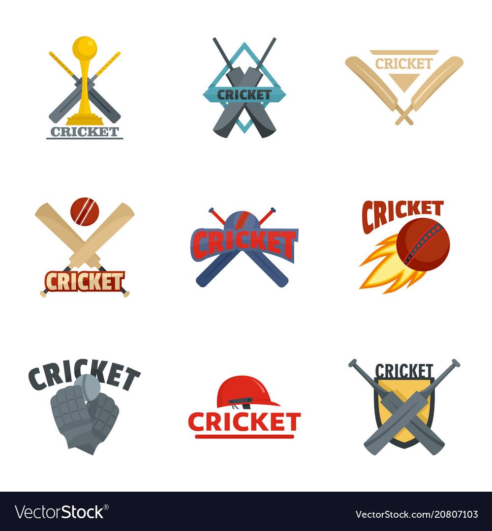 Cricket sport ball bat logo icons set flat style