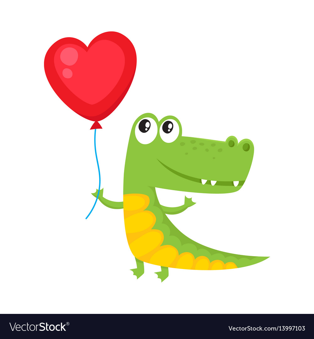 Cute and funny crocodile holding red heart shaped
