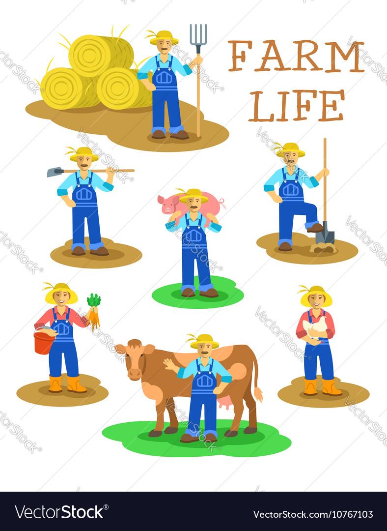 Farmers men and women working on farm