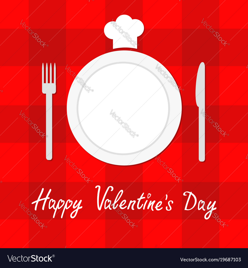 547dc4b259c Happy valentines day menu card fork plate knife Vector Image