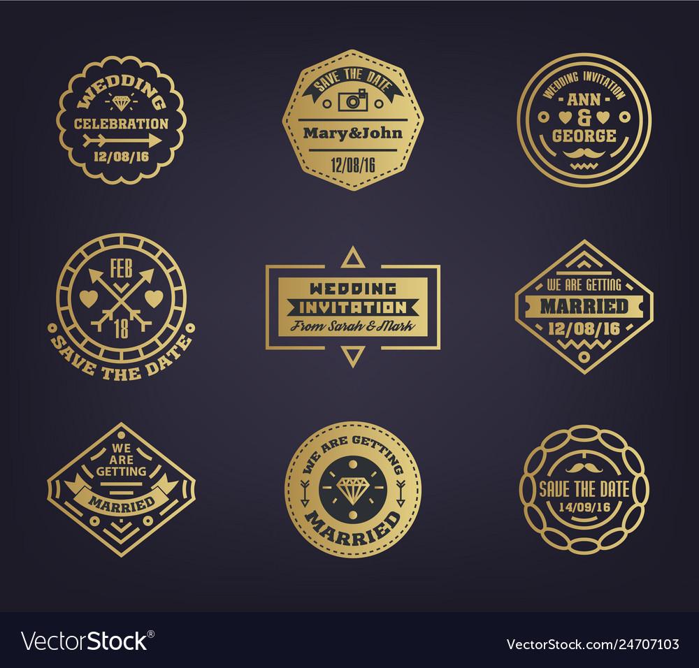 Set wedding logo templates design