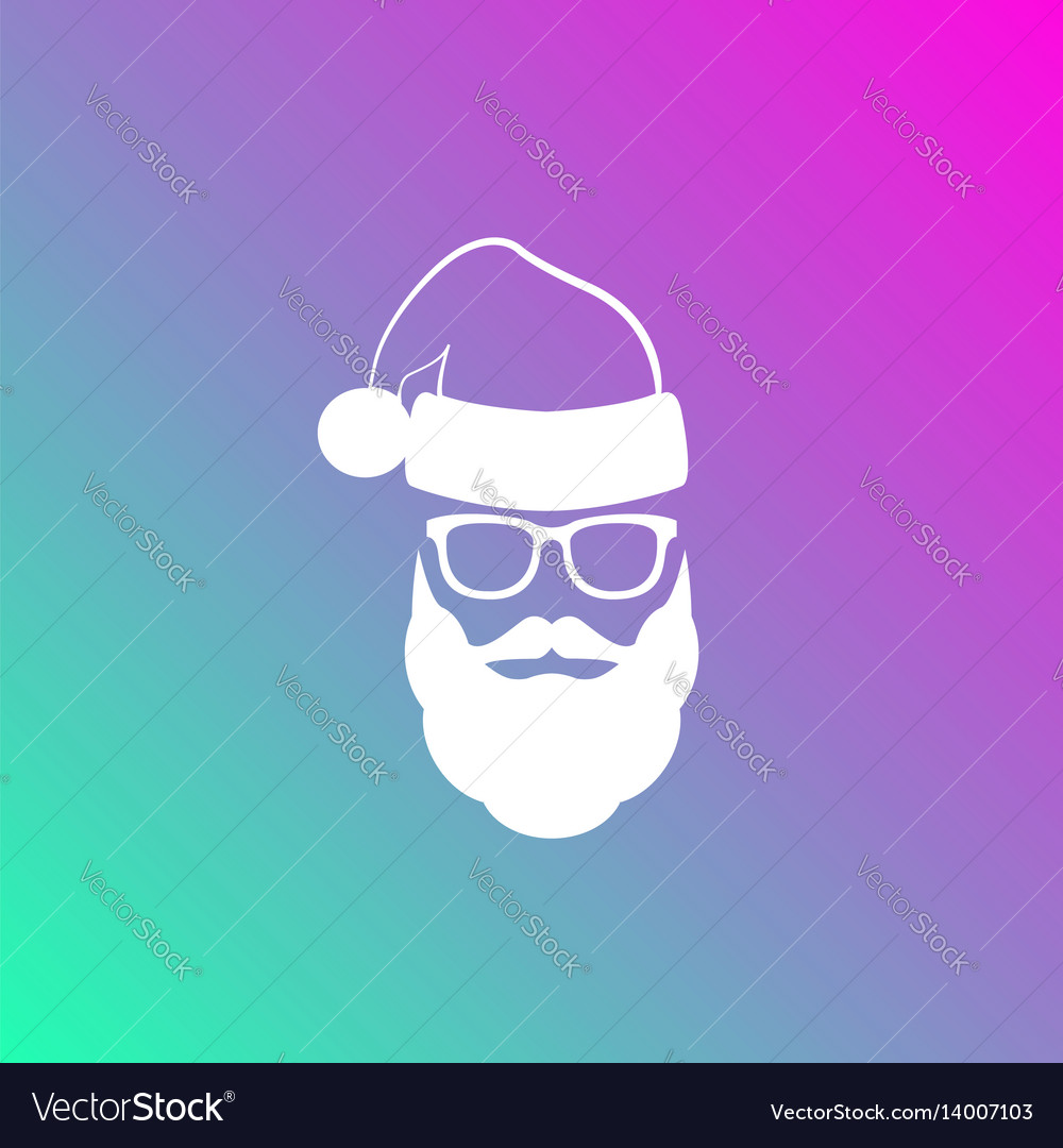 Silhouette of santa claus with a beard