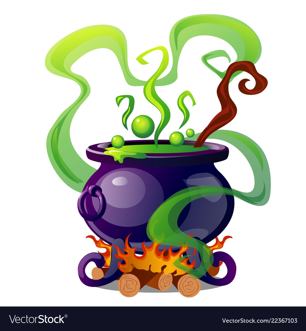 Steel cauldron with boiling green magic potion