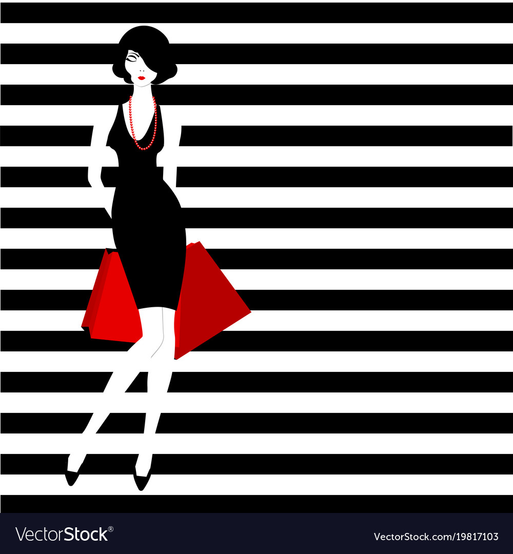 Stripped Background Fashion Girl Royalty Free Vector Image