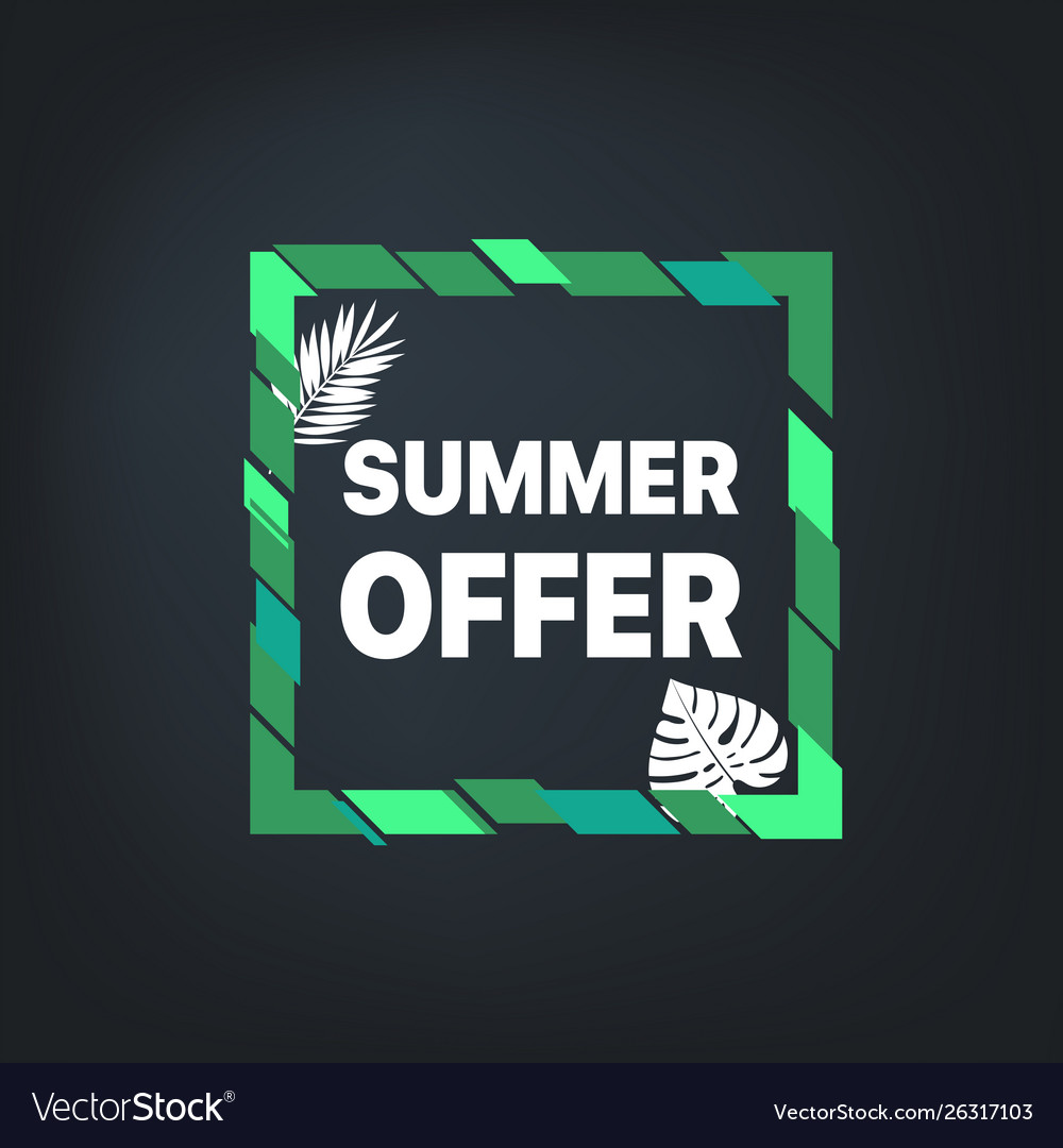 Summer sale banner frame with leaves