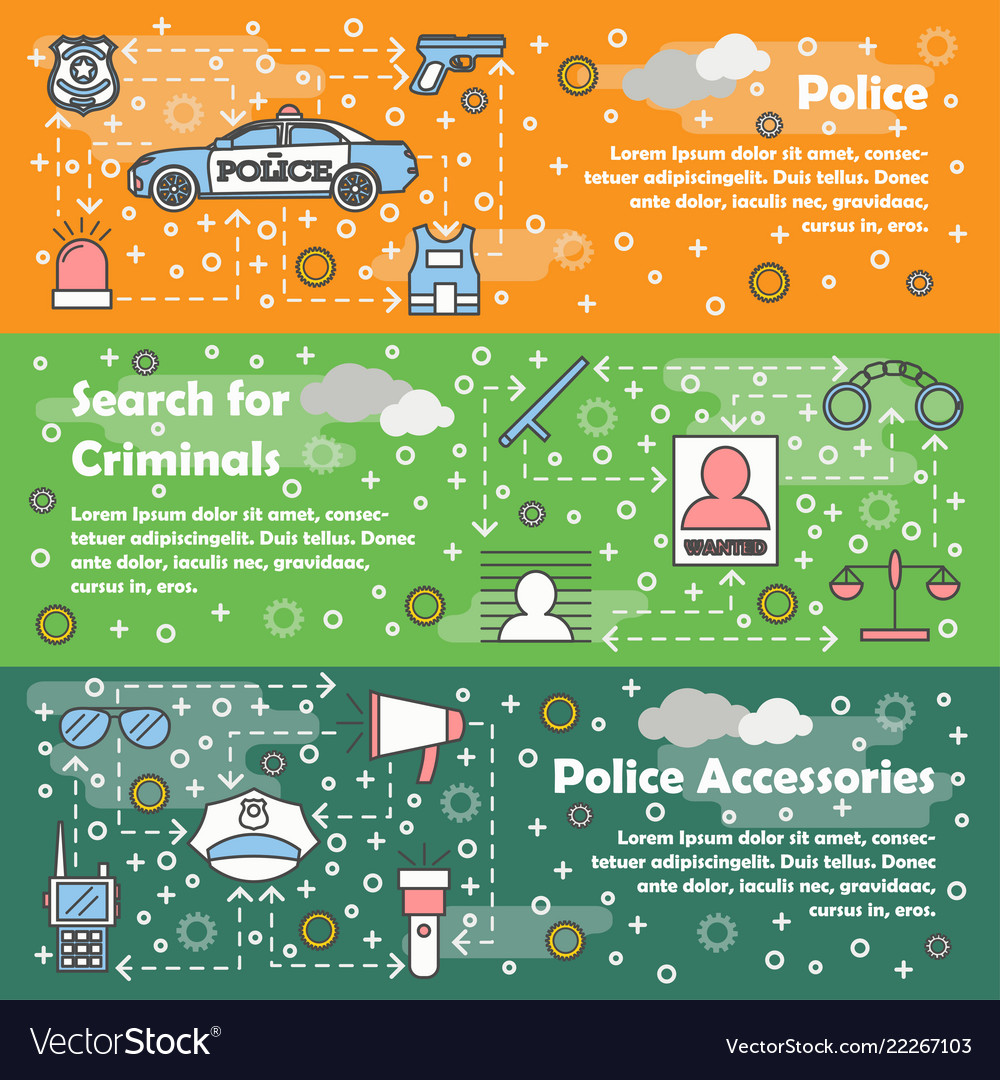 Thin line police web banner template set