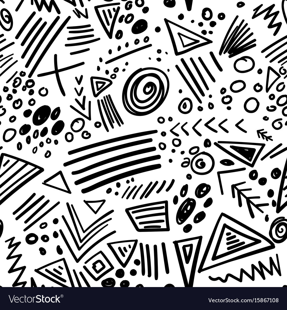 Abstract marker black lines seamless pattern