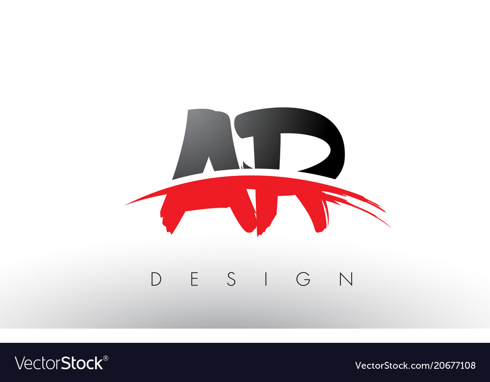 Ar a r brush logo letters with red and black