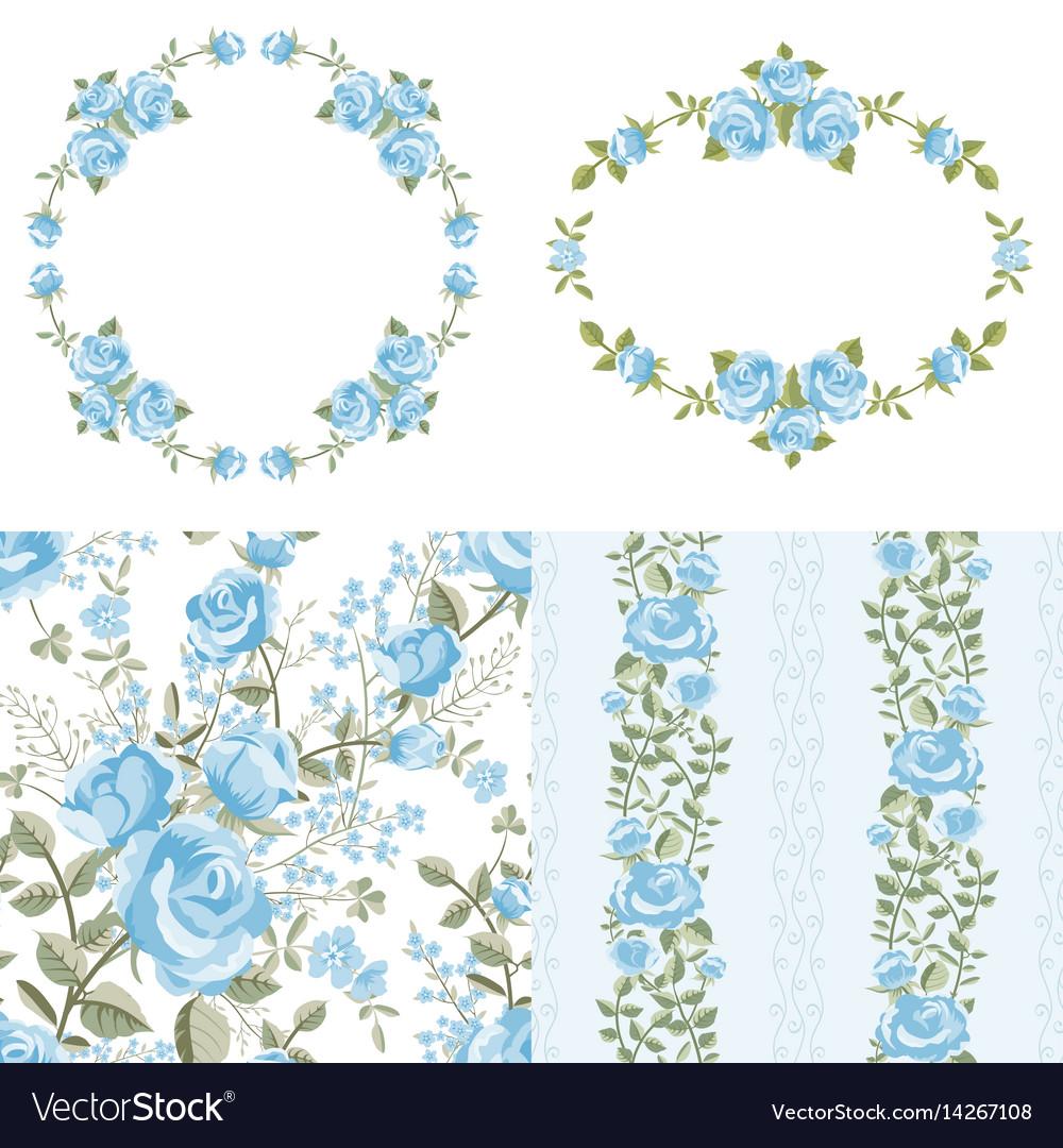 Blue roses set vector image