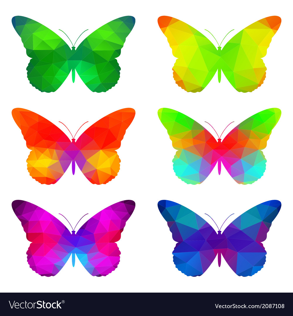 Colorful Butterflies With Triangular Polygons Vector Image