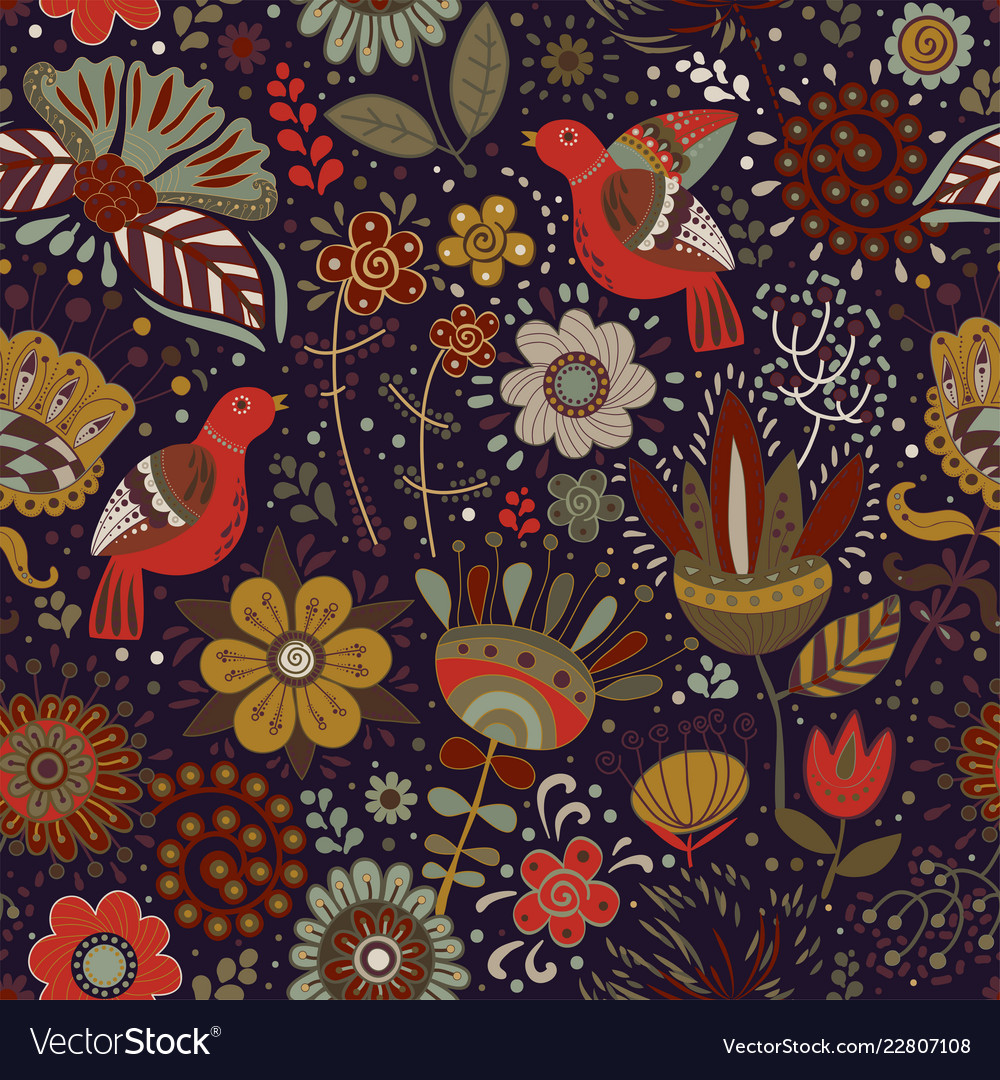 Colorful seamless floral pattern wallpaper