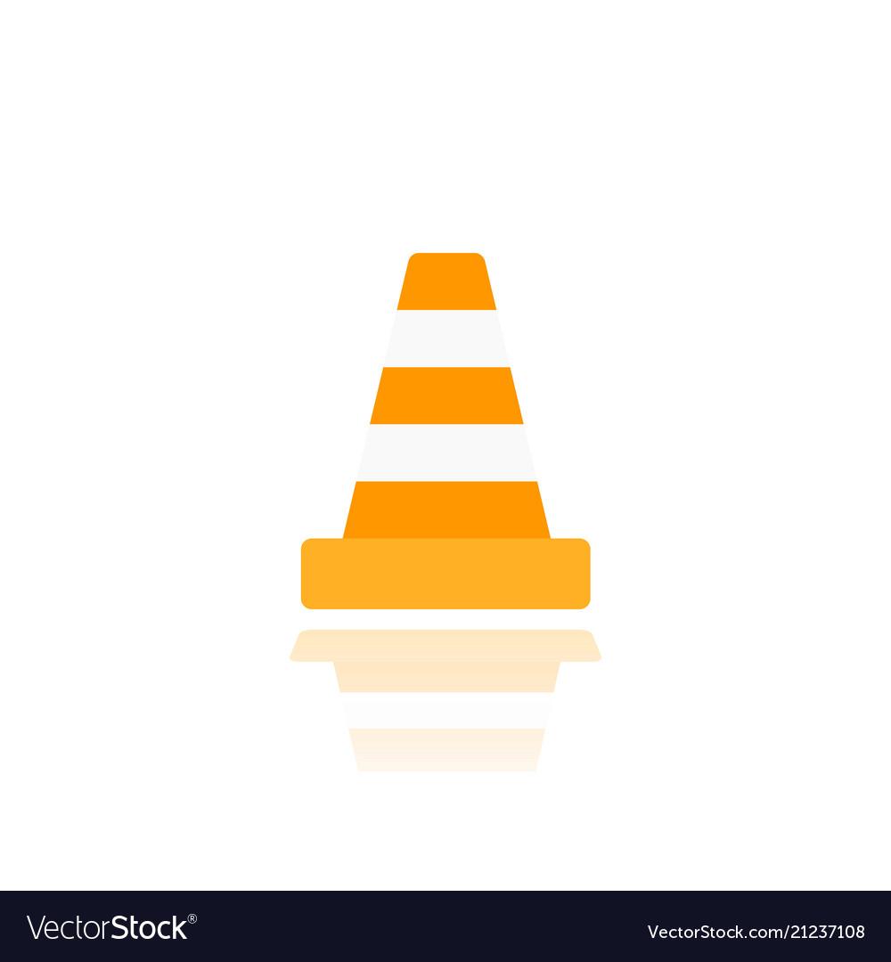 Construction cone icon on white