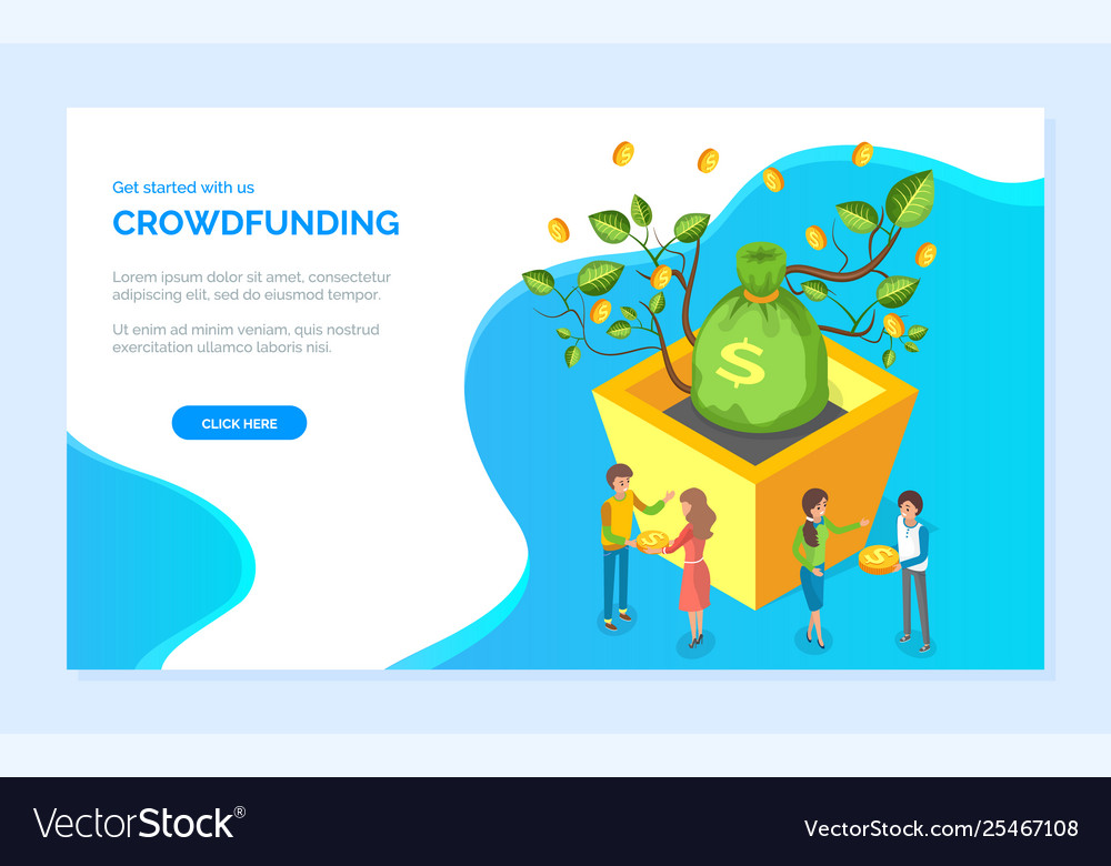 Crowdfunding bag dollars coin and money