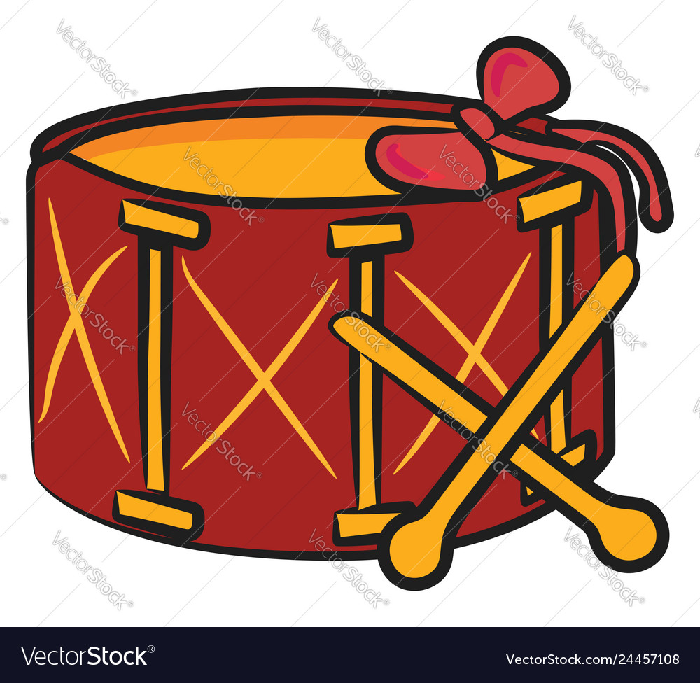 Christmas Drum.Drum Set Gift For Christmas Or Color
