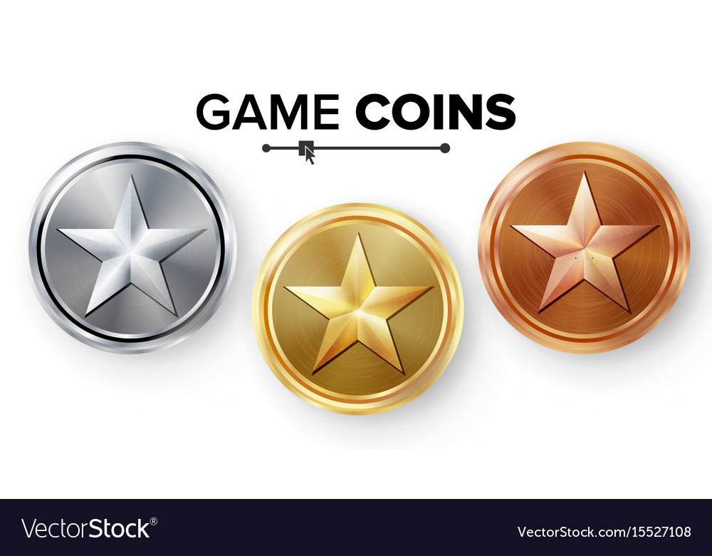 Game gold silver bronze coins set with