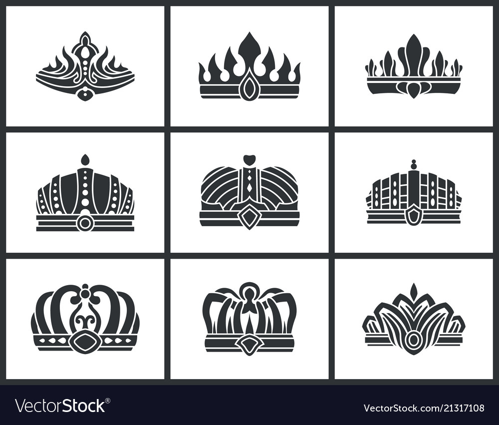 Kings and queens monochrome crowns icon collection