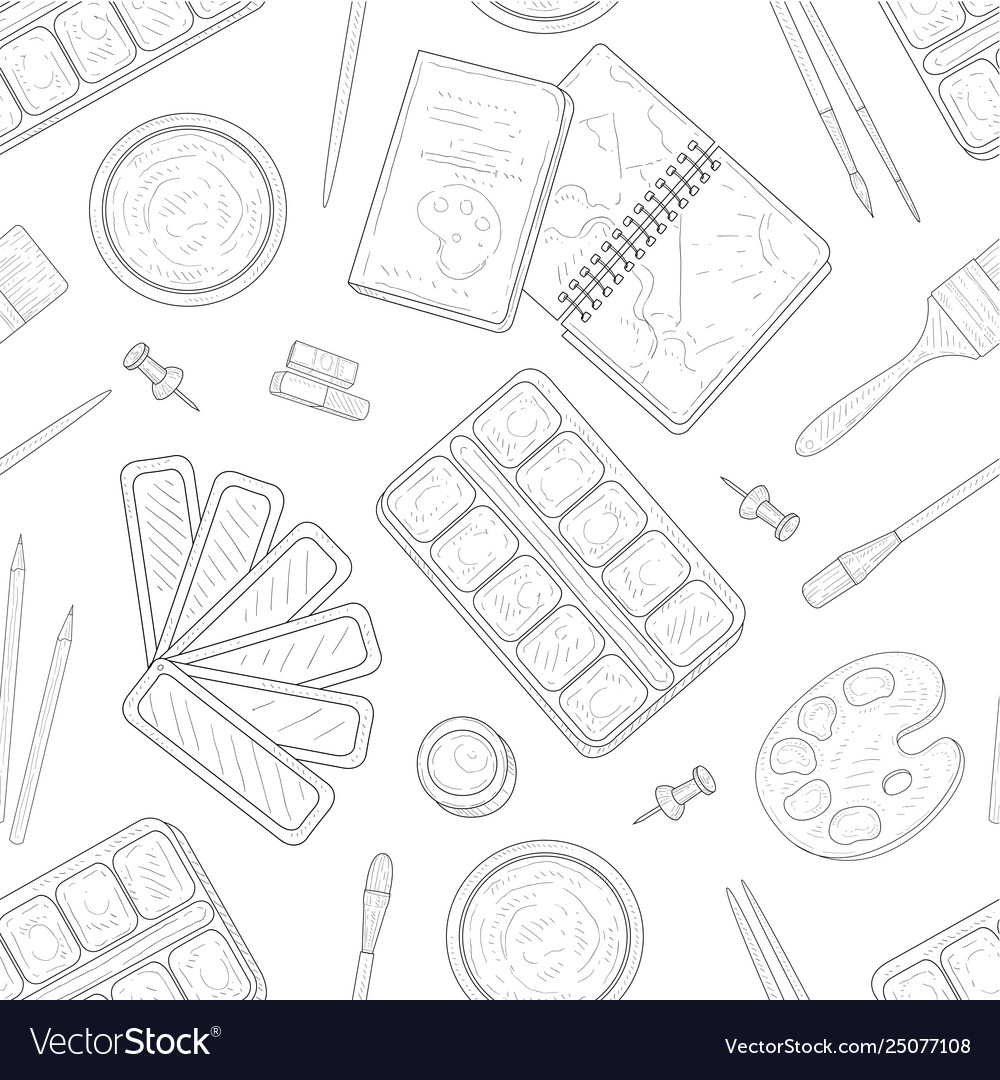 Painter tools seamless pattern art supplies