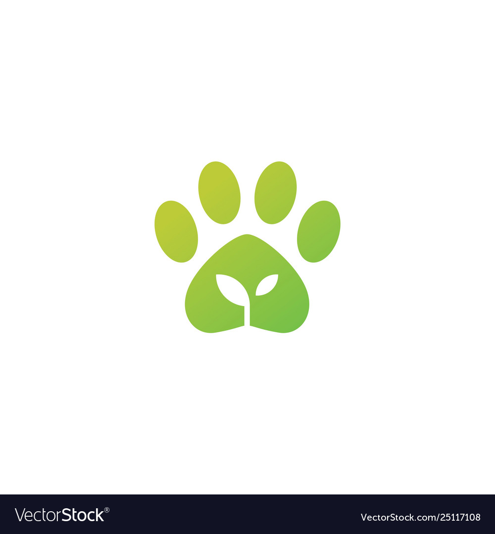Paw leaf organic pet food logo icon