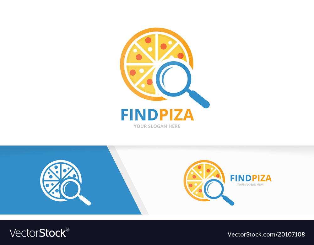 Pizza and loupe logo combination food and