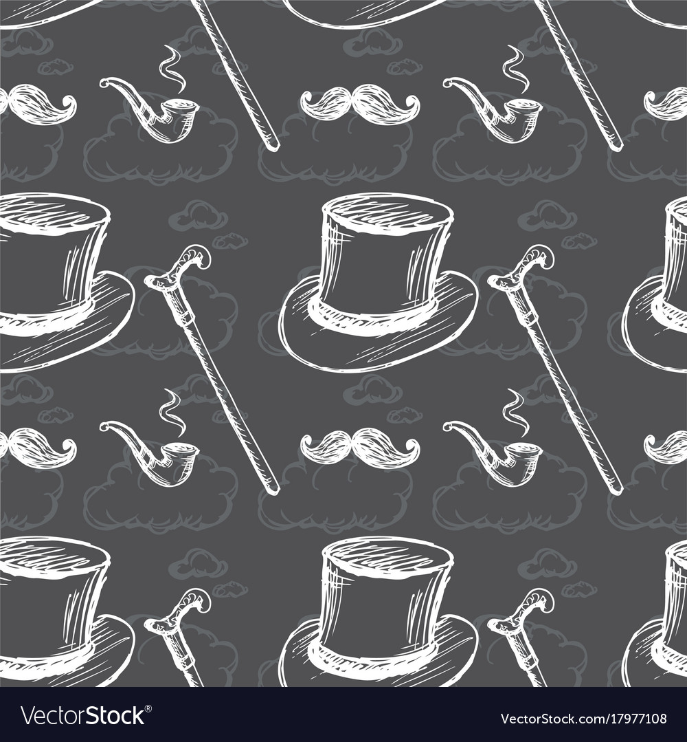 Seamless pattern with steampunk top hat vector image