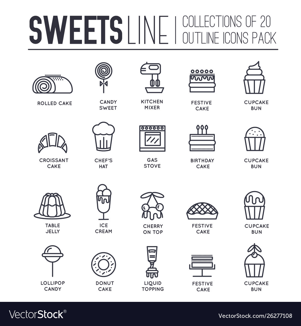 Set sweets kitchen tools thin line icons