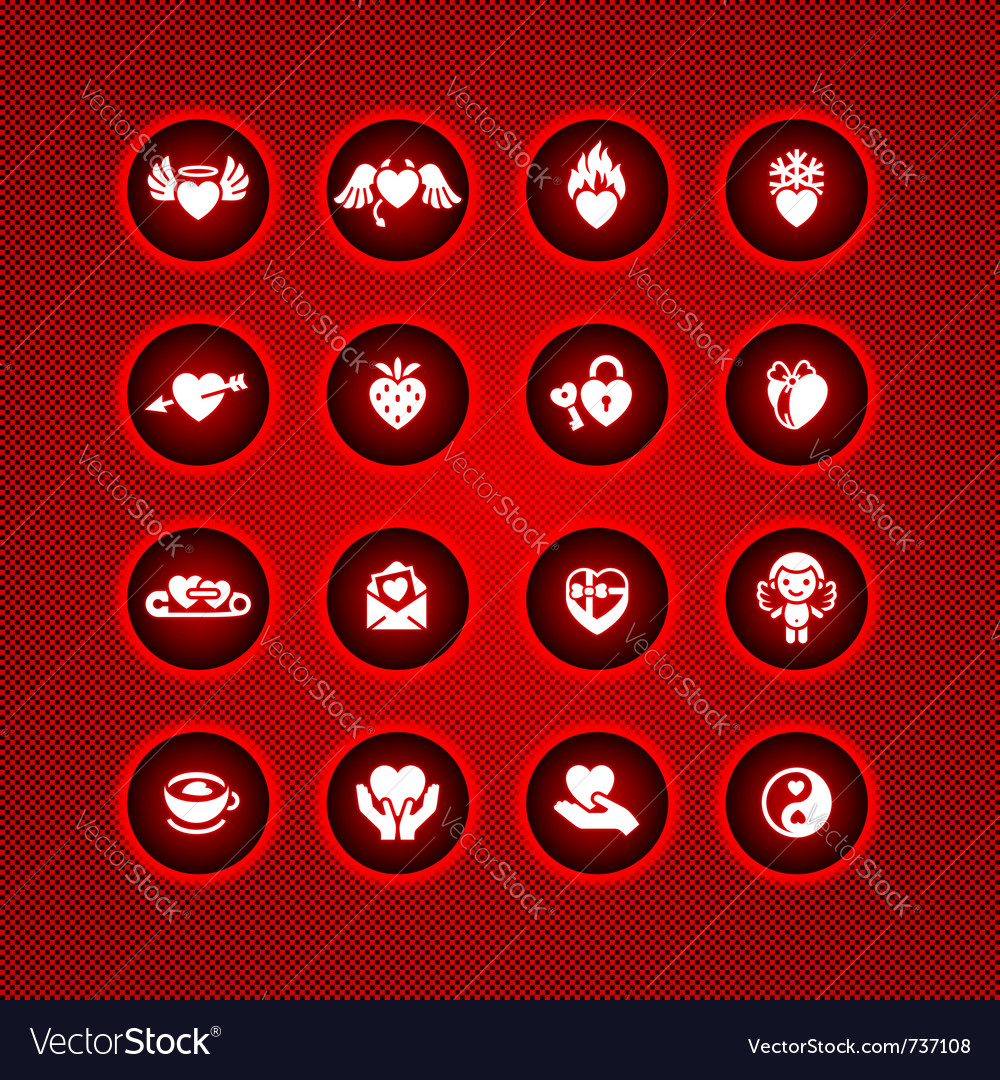 Set Valentines Day Icons Symbols Royalty Free Vector Image