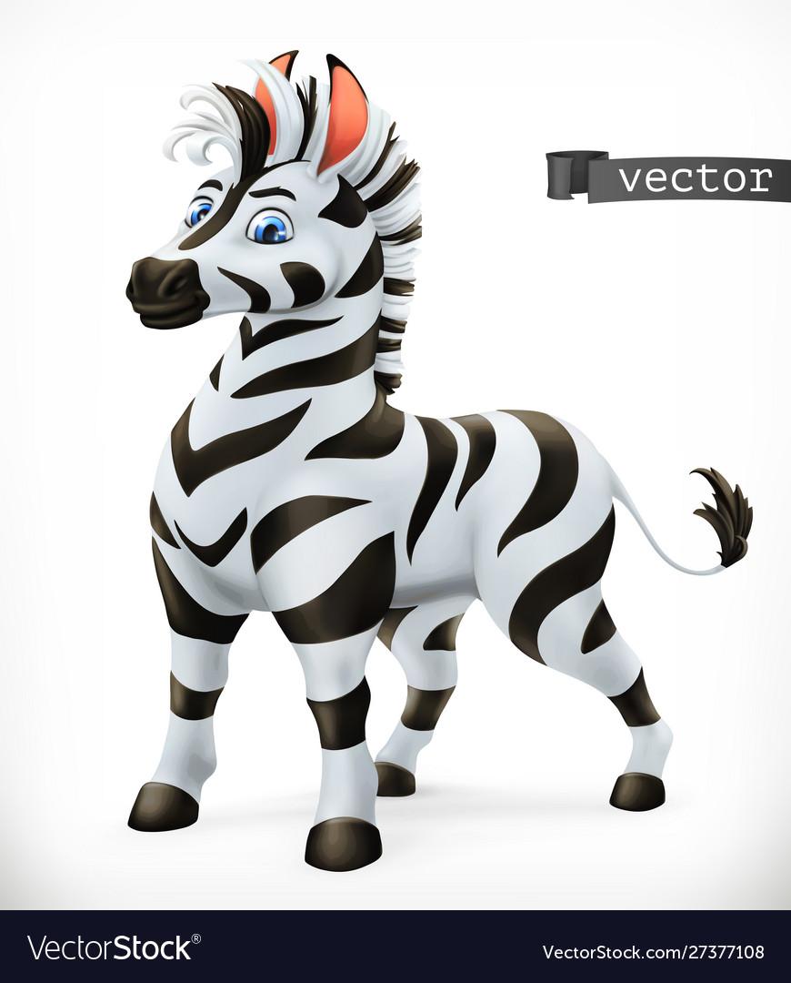 Zebra cartoon character funny animal 3d icon