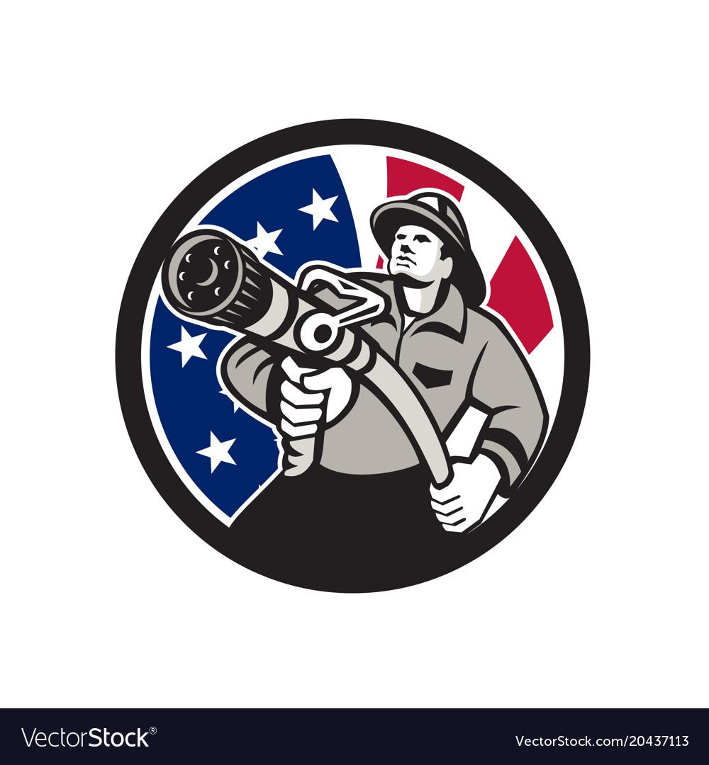 American fireman usa flag icon vector image