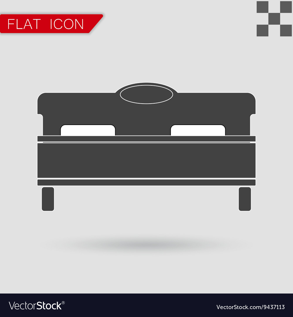 Black bed icon Flat Style with red