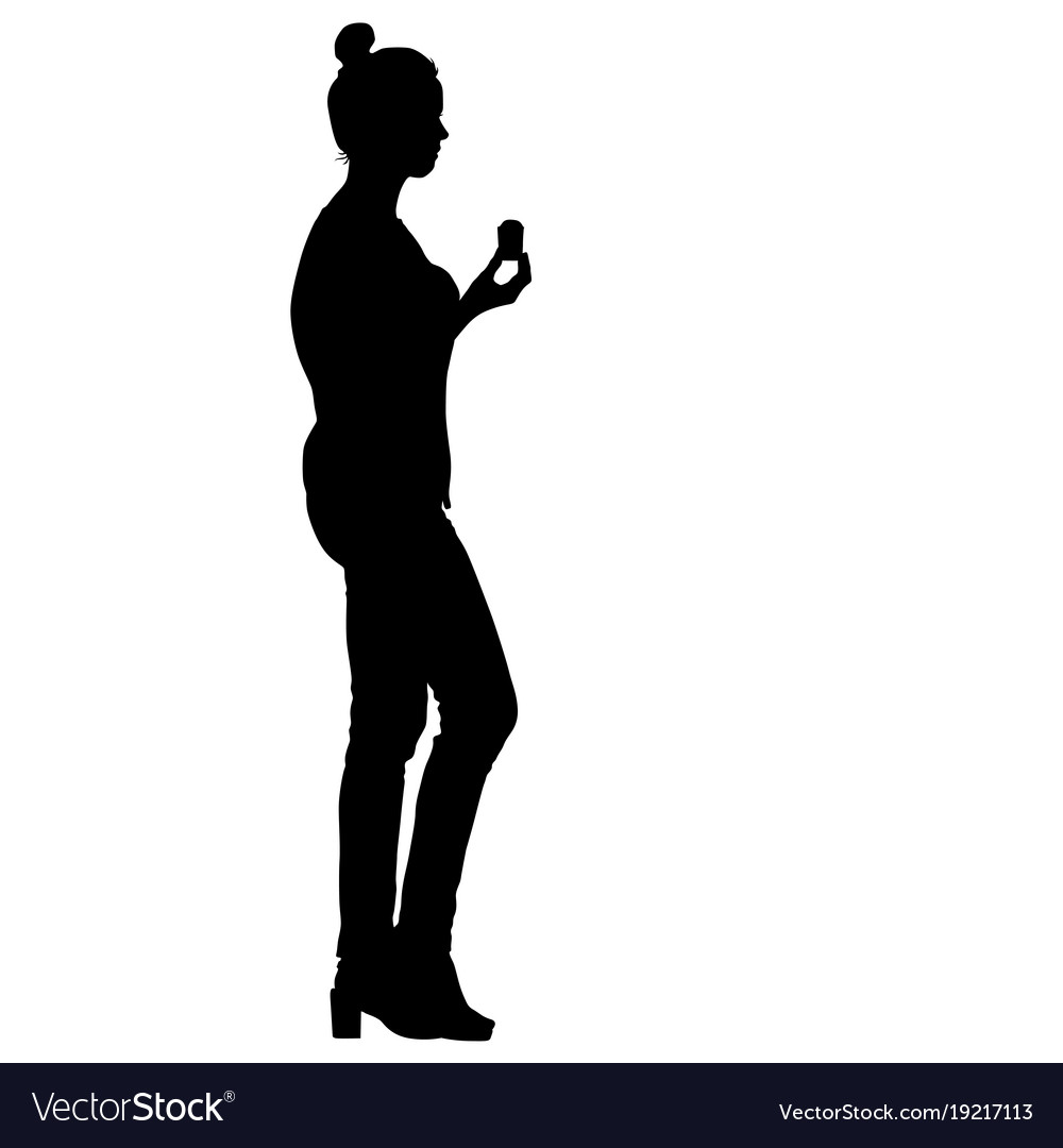Black silhouette woman holding ice cream in hand