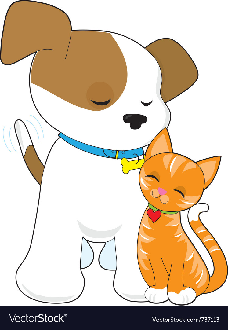 Cute puppy and cat vector image