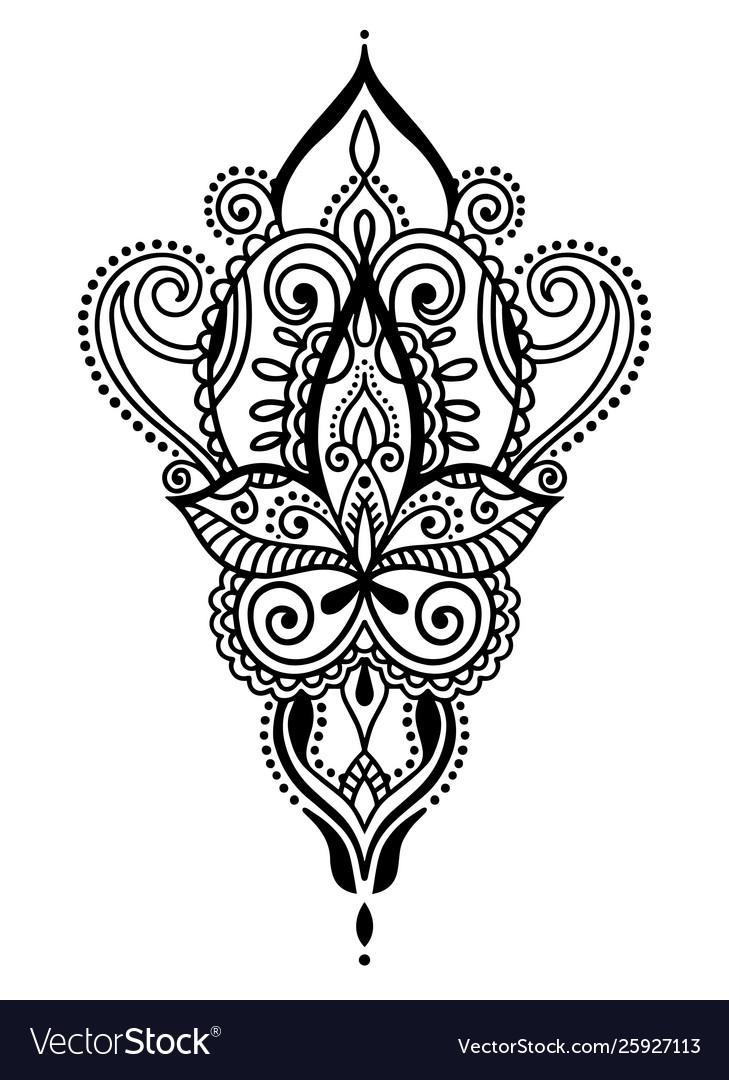 Ethnic paisley hand draw tattoo design henna
