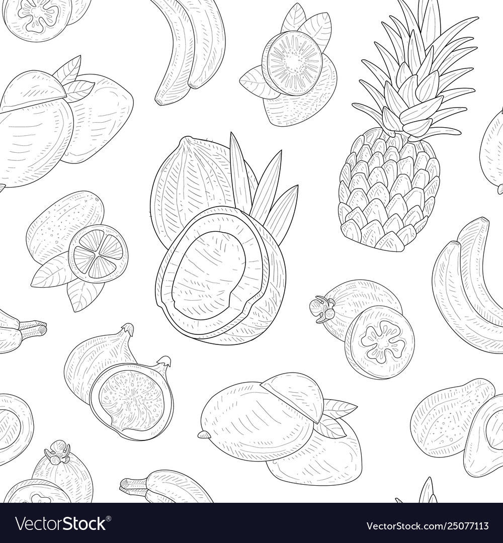 Exotic fruits seamless pattern tropical plants