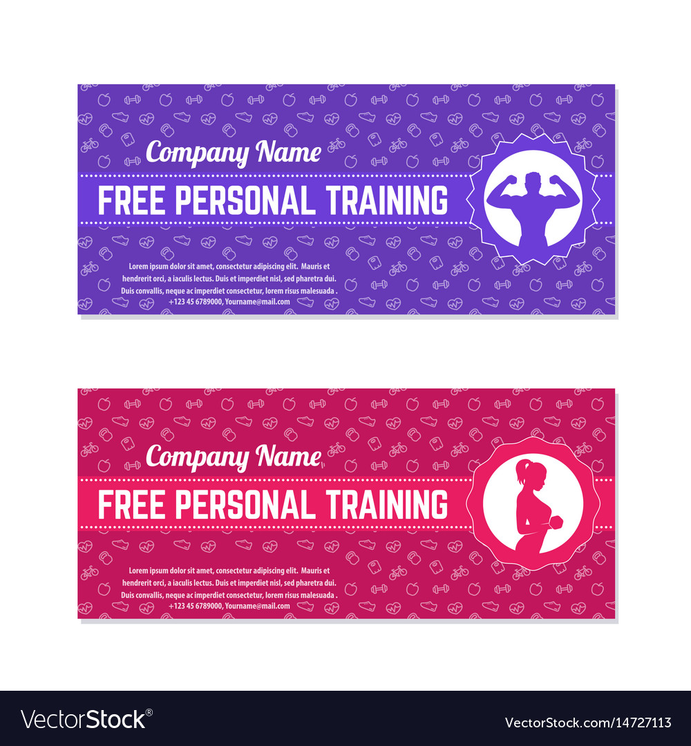 Free personal training gift voucher for gym vector image negle Images