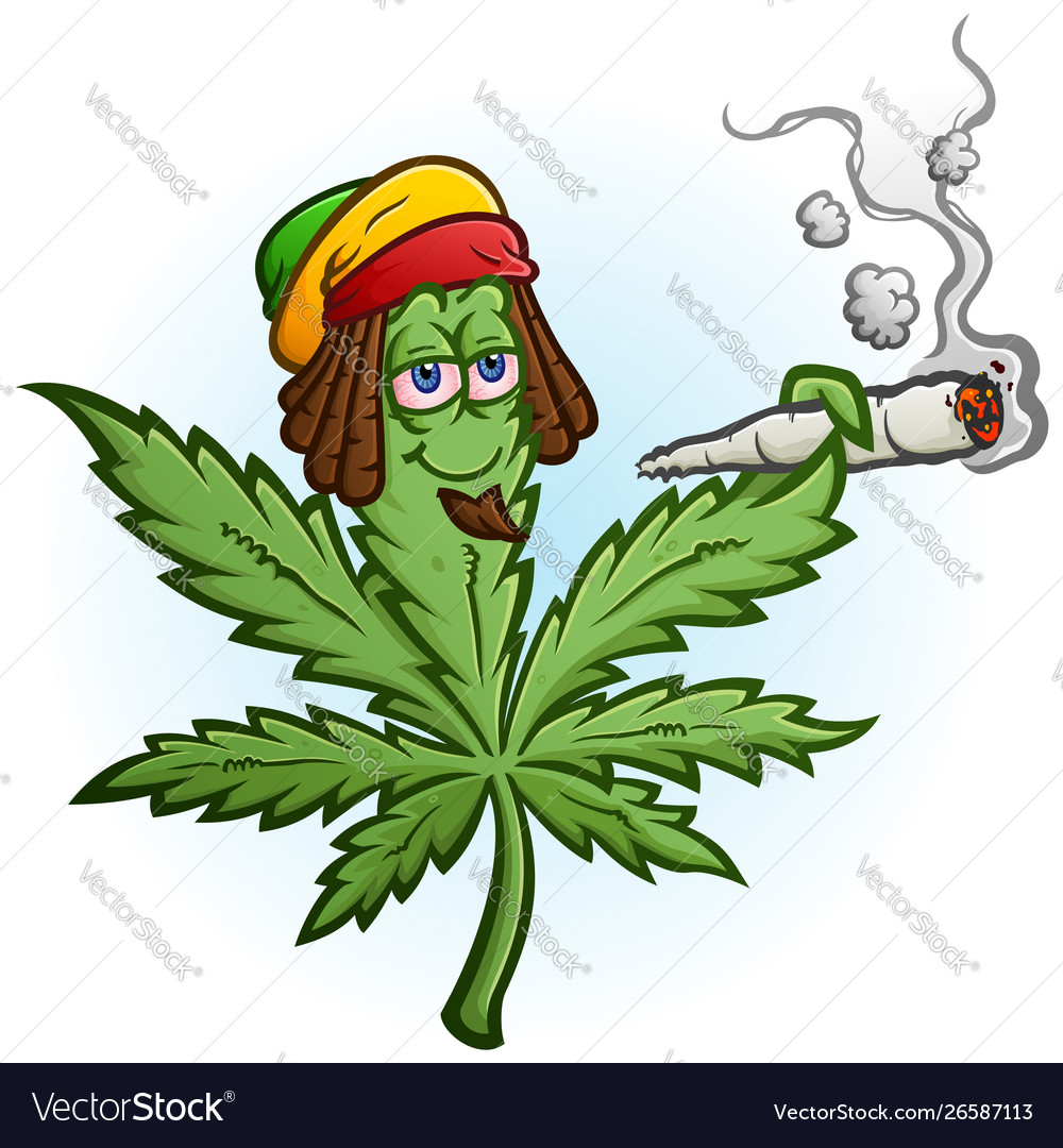 Marijuana rasta cartoon character smoking a joint