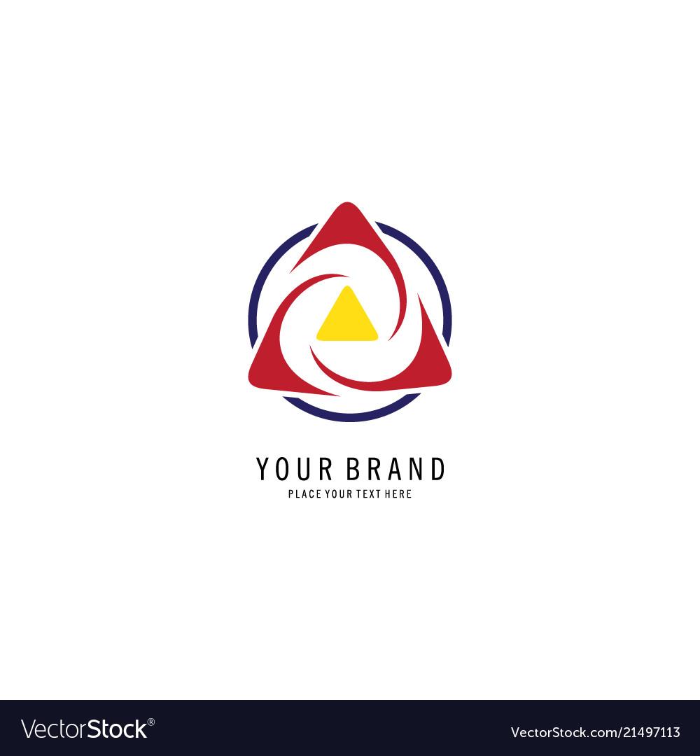 Round swirl triangle logo