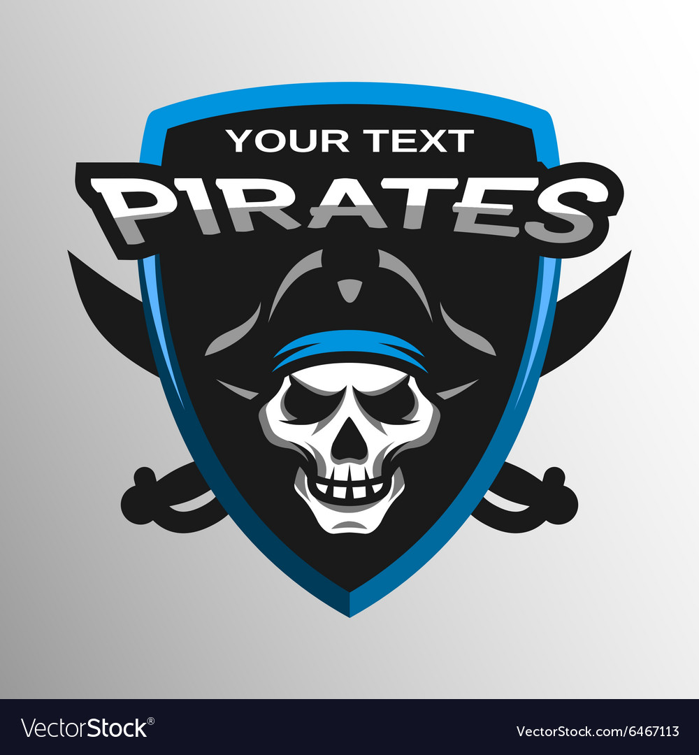 Skull pirates and swords Sport emblem vector image