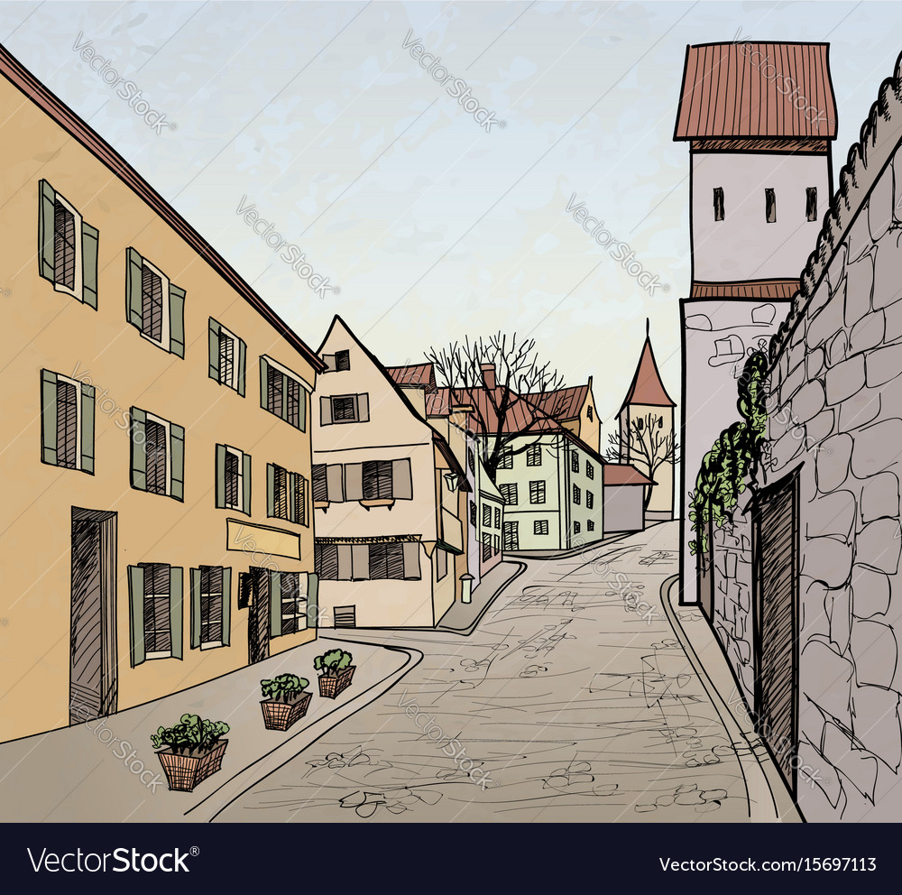 Street view in old city cityscape - houses