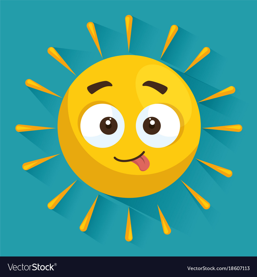 Summer sun face cartoon