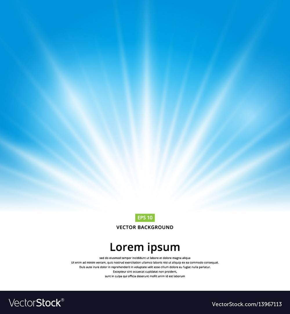 Sun light effect on blue background vector image