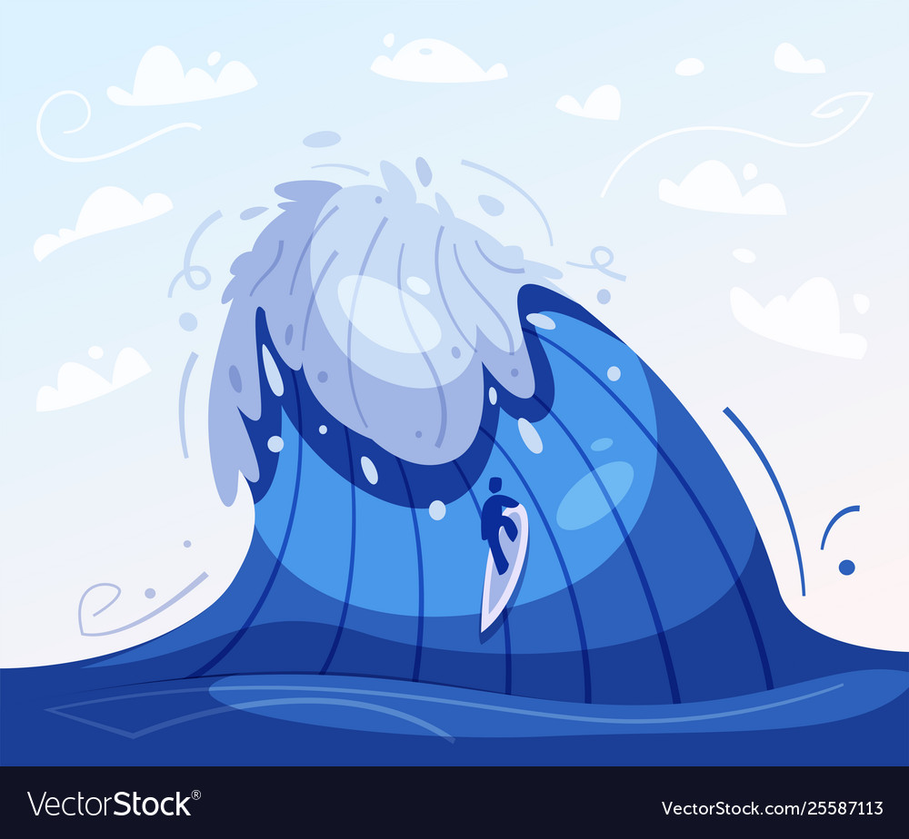 Surfing concept cartoon